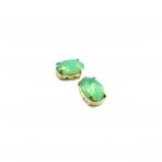 14x10mm mėnulio žalios sp. kristalai aukso sp. rėmeliuose, 2vnt.