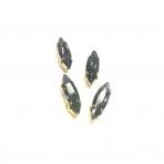 15x4mm pilkos sp. kristalai aukso sp. rėmeliuose, 4vnt