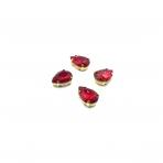 14x10mm raudonos sp. kristalai aukso sp. rėmeliuose, 4vnt.