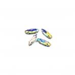 15x4mm Silk AB sp. kristalai sidabro sp. rėmeliuose, 4vnt