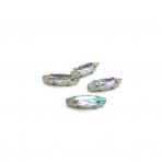 15x4mm švelnios gelsvos AB sp. kristalai sidabro sp. rėmeliuose, 4vnt