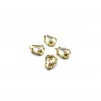 14x10mm šviesios dūminės sp. kristalai aukso sp. rėmeliuose, 4vnt.