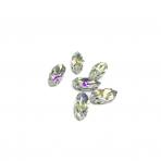 15x7mm crystal AB sp. kristalai sidabro sp. rėmeliuose, 6vnt