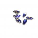 15x7mm mėlynos AB sp. kristalai sidabro sp. rėmeliuose, 6vnt