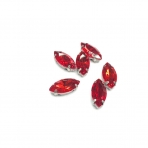 15x7mm raudonos sp. kristalai sidabro sp. rėmeliuose, 6vnt