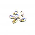 15x7mm Silk AB sp. kristalai sidabro sp. rėmeliuose, 6vnt