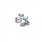 15x7mm švelnios gelsvos AB sp. kristalai sidabro sp. rėmeliuose, 6vnt