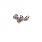 15x7mm švelnios rožinės AB sp. kristalai sidabro sp. rėmeliuose, 4vnt
