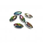 15x7mm Vitrail sp. kristalai sidabro sp. rėmeliuose, 6vnt