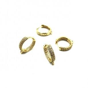 16x4mm aukso sp. nerūdijančio plieno auskarų įvėrimai su cirkoniais, 2vnt.