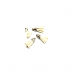 17mm gelsvos sp. dirbtinės odos kutai, aukso sp. kepurėle, 4vnt.