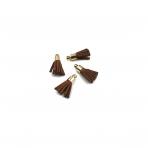17mm rudos sp. dirbtinės odos kutai, aukso sp. kepurėle, 4vnt.