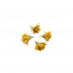 18mm garstyčių sp. gėlyčių pakabukai, aukso sp. kepurėle, 4vnt.