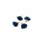 18mm tamsiai mėlynos sp. gėlyčių pakabukai, aukso sp. kepurėle, 4vnt.
