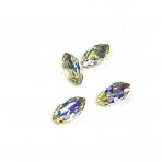 15x4mm crystal AB sp. kristalai aukso sp. rėmeliuose, 4vnt