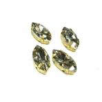 18x10mm dūminės sp. kristalai aukso sp. rėmeliuose, 4vnt
