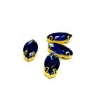 15x4mm mėlyna sp. kristalai aukso sp. rėmeliuose, 4vnt
