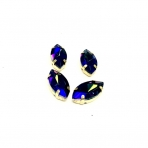 15x4mm mėlynos AB sp. kristalai aukso sp. rėmeliuose, 4vnt