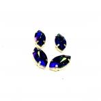 18x10mm mėlynos AB sp. kristalai aukso sp. rėmeliuose, 4vnt