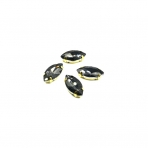 18x10mm pilkos sp. kristalai aukso sp. rėmeliuose, 4vnt