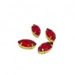 15x4mm raudonos sp. kristalai aukso sp. rėmeliuose, 4vnt
