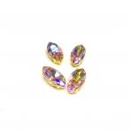 18x10mm švelnios rožinės AB sp. kristalai aukso sp. rėmeliuose, 4vnt