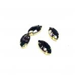 18x10mm violetinės sp. kristalai aukso sp. rėmeliuose, 4vnt