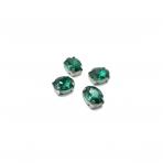 10x8mm Emerald sp. kristalai sidabro sp. rėmeliuose, 6vnt.