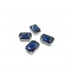 18x13mm indigo sp. kristalai sidabro sp. rėmeliuose, 4vnt.