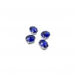 10x8mm mėlyna sp. kristalai sidabro sp. rėmeliuose, 6vnt.