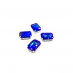 18x13mm mėlynos AB sp. kristalai sidabro sp. rėmeliuose, 4vnt.