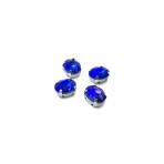 10x8mm mėlynos AB sp. kristalai sidabro sp. rėmeliuose, 6vnt.