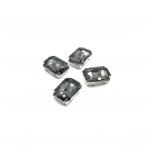 18x13mm pilkos sp. kristalai sidabro sp. rėmeliuose, 4vnt.