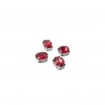 10x8mm raudonos sp. kristalai sidabro sp. rėmeliuose, 6vnt.