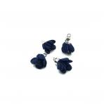 19x15mm tamsiai mėlynos sp. gėlyčių pakabukai, sidabro sp. kepurėle, 4vnt.