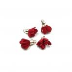 19x15mm raudonos sp. gėlyčių pakabukai, sidabro sp. kepurėle, 4vnt.