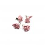 19x15mm pelenų rožinės sp. gėlyčių pakabukai, sidabro sp. kepurėle, 4vnt.