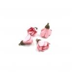 24x16mm rožinės sp. gėlyčių pakabukai, aukso sp. kepurėle, 4vnt.