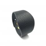 220x50mm juodos sp. odinės apyrankės ruošinys, aukso sp. užsegimu