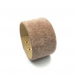 220x42mm šviesiai rudos sp. pūkuotos odinės apyrankės ruošinys, aukso sp. užsegimu