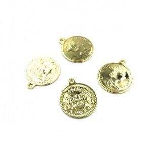 21x18mm aukso sp. nerūdijančio plieno pakabukas moneta, 1vnt.