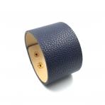 220x44mm tamsiai mėlynos sp. odinės apyrankės ruošinys, aukso sp. užsegimu