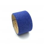 220x42mm mėlynos sp. pūkuotos odinės apyrankės ruošinys, aukso sp. užsegimu
