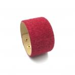 220x42mm raudonos sp. pūkuotos odinės apyrankės ruošinys, aukso sp. užsegimu