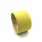 220x42mm geltonos sp. pūkuotos odinės apyrankės ruošinys, aukso sp. užsegimu