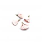 22mm rožinės sp. gėlyčių pakabukai, aukso sp. kepurėle, 4vnt.