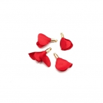 22mm raudonos sp. gėlyčių pakabukai, aukso sp. kepurėle, 4vnt.
