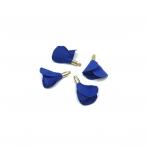 22mm mėlynos sp. gėlyčių pakabukai, aukso sp. kepurėle, 4vnt.