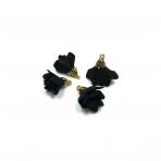 24x16mm juodos sp. gėlyčių pakabukai, aukso sp. kepurėle, 4vnt.