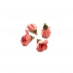 24x16mm koralinės sp. gėlyčių pakabukai, aukso sp. kepurėle, 4vnt.